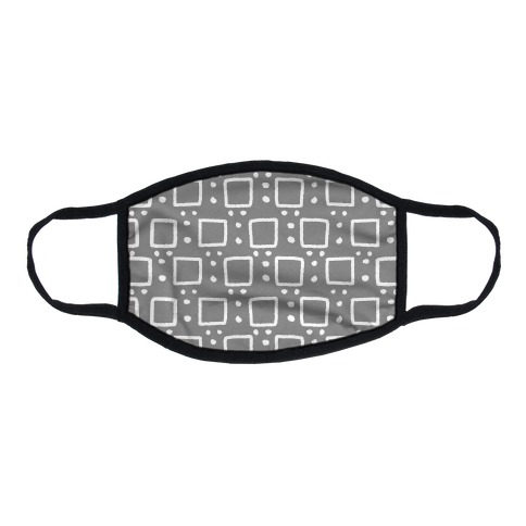 Square and Dot Rustic Grey Pattern Flat Face Mask