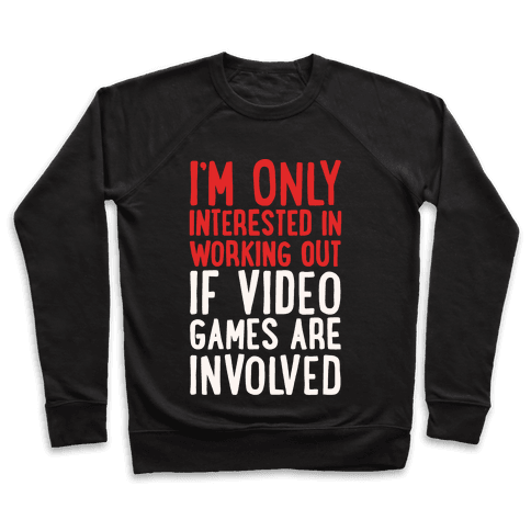 Video Game Workout White Print Pullover