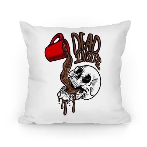 Dead Inside Skull & Coffee Pillow