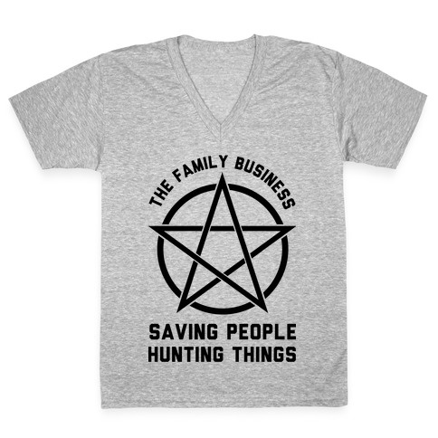 Saving People Hunting Things The Family Business V Neck Tee Lookhuman