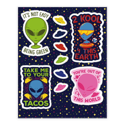 Cool Alien  Sticker/Decal Sheet