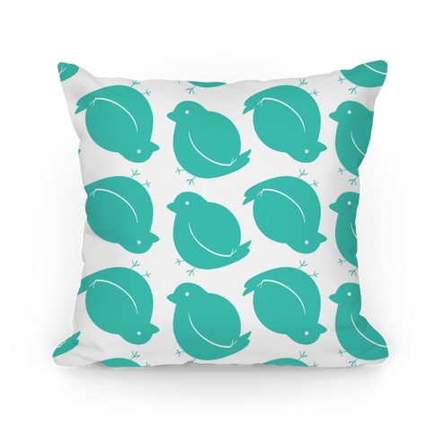 Chubby Bird Pattern Pillow (Teal)