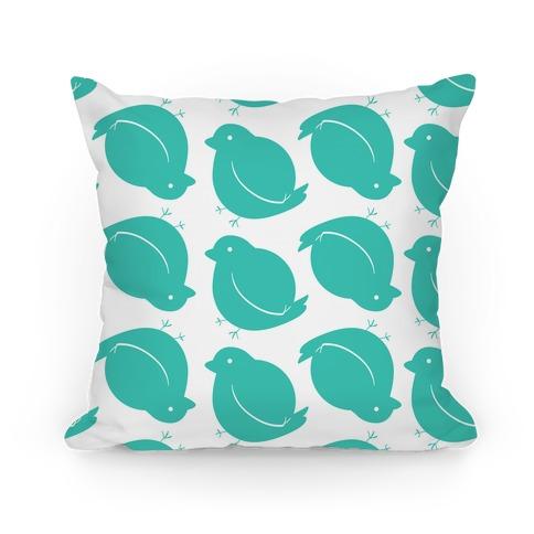 Chubby Bird Pattern Pillow (Teal)