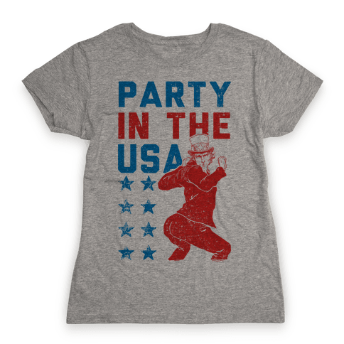 Party In The USA Uncle Sam Womens T-Shirt