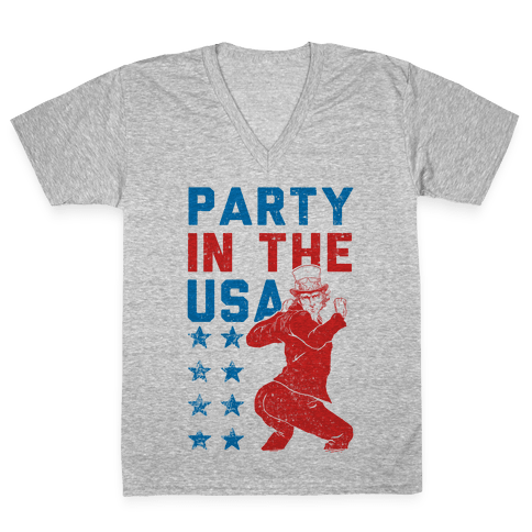 Party In The USA Uncle Sam V-Neck Tee Shirt