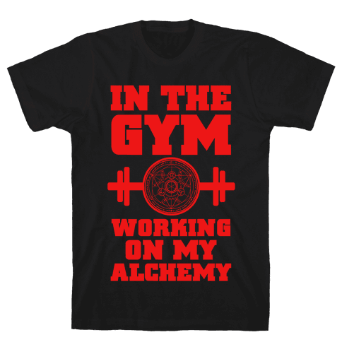 In the Gym Working on my Alchemy Mens T-Shirt