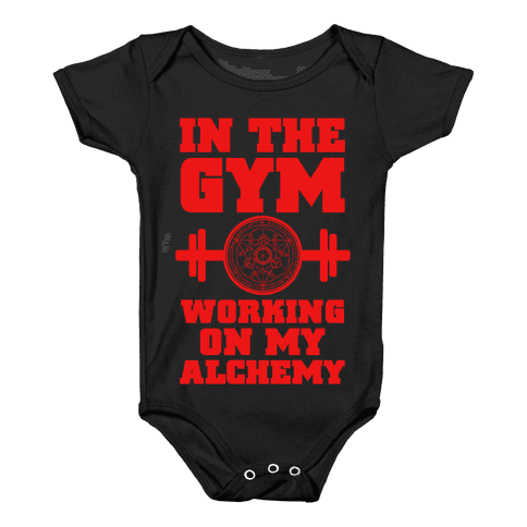 In the Gym Working on my Alchemy Baby Onesy
