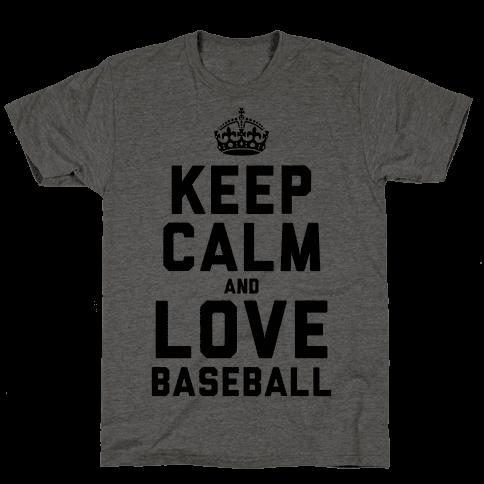 Keep Calm and Love Baseball Mens T-Shirt
