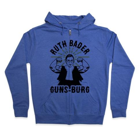 Ruth Bader Guns-Burg Zip Hoodie