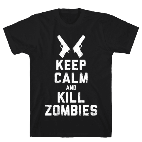 Keep Calm and Kill Zombies (White Ink) Mens T-Shirt