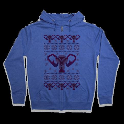 Uterus Sweater Pattern Zip Hoodie