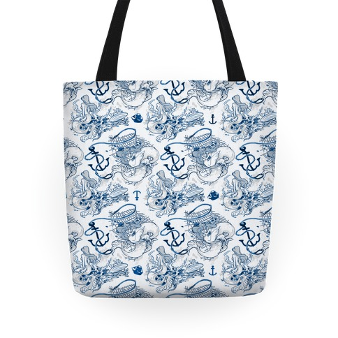 Mermaid Toile Pattern Tote