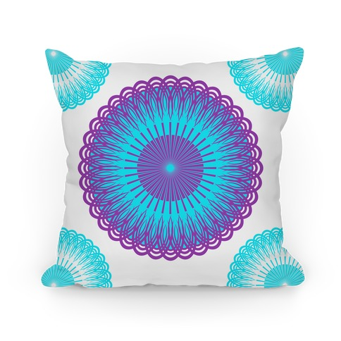 Purple and White Flower Mandala Pillow