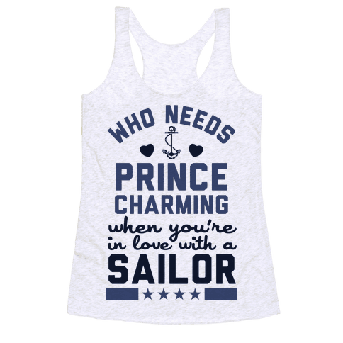 Who Needs Prince Charming? (U.S. Navy) Racerback Tank Top