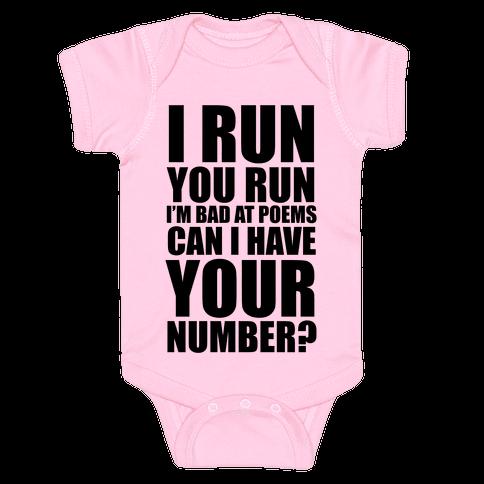 Runner Pickup Line Poem Baby Onesy