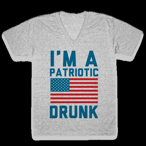 I'm A Patriotic Drunk V-Neck Tee Shirt