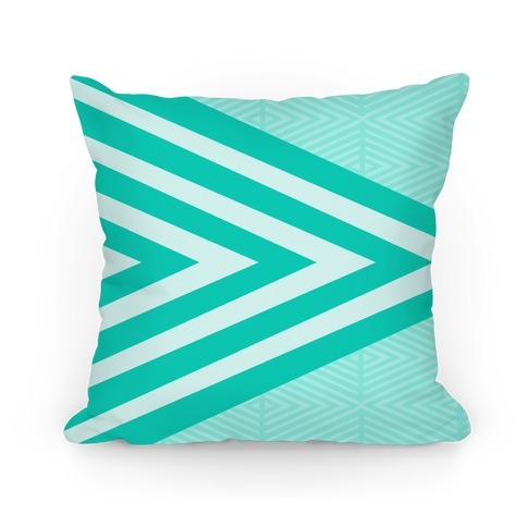 Large Teal Geometric Diamond Pattern Pillow