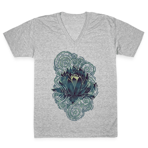 Lotus Flower V-Neck Tee Shirt