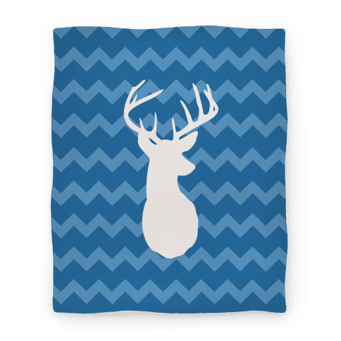 Chevron Stripe Deer Silhouette Blanket