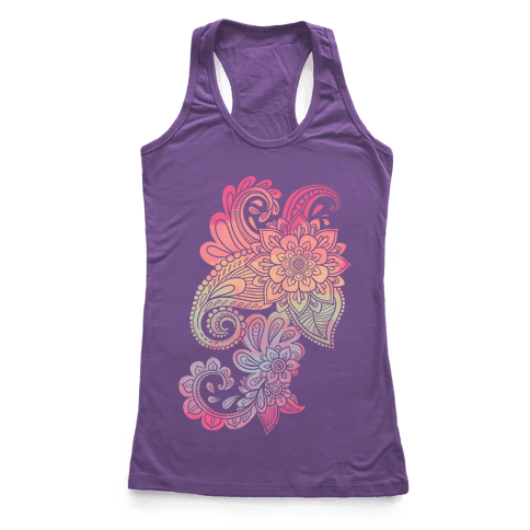 Rainbow Lotus Henna Inspiration Racerback Tank Top