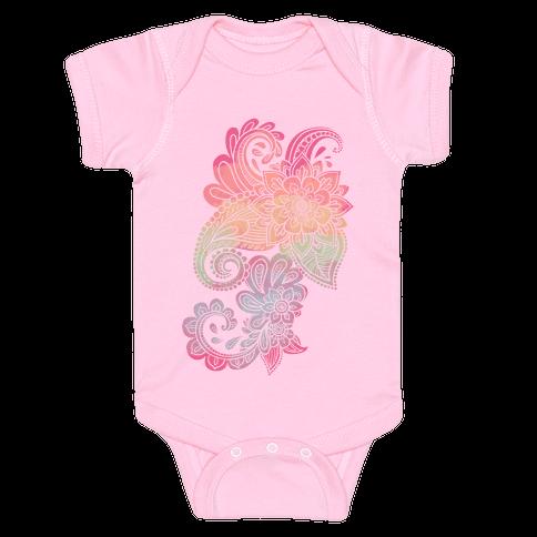 Rainbow Lotus Henna Inspiration Baby Onesy