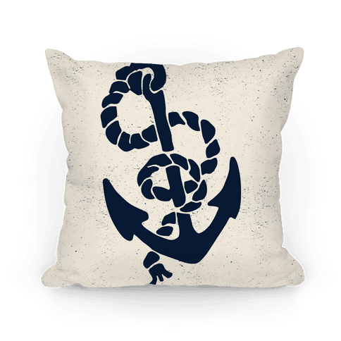 Large Anchor (Cream) - Throw Pillow - HUMAN