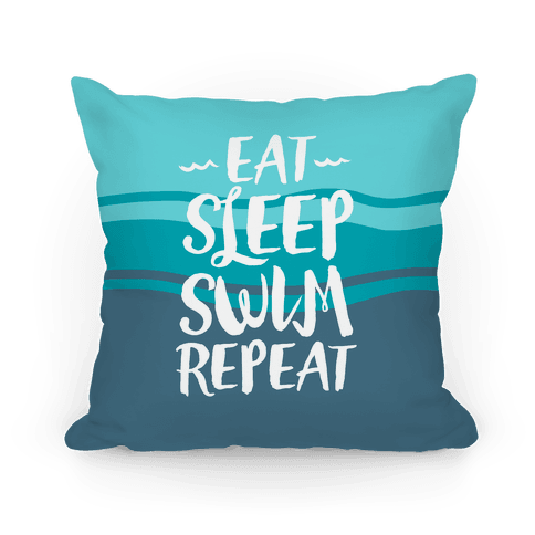 Eat Sleep Swim Repeat Pillow