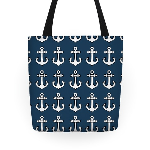 Blue Anchor Pattern Tote