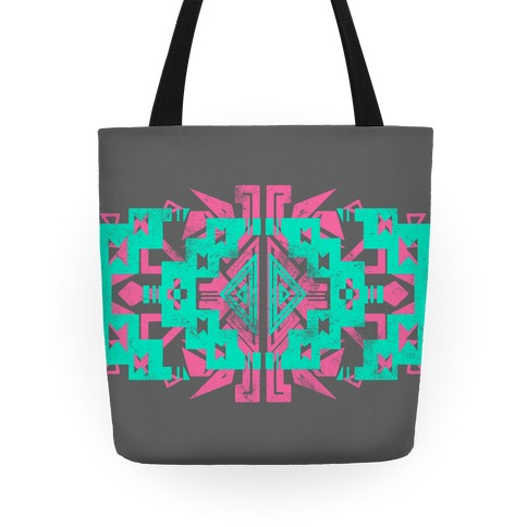 Pink and Mint Aztec Pattern Tote