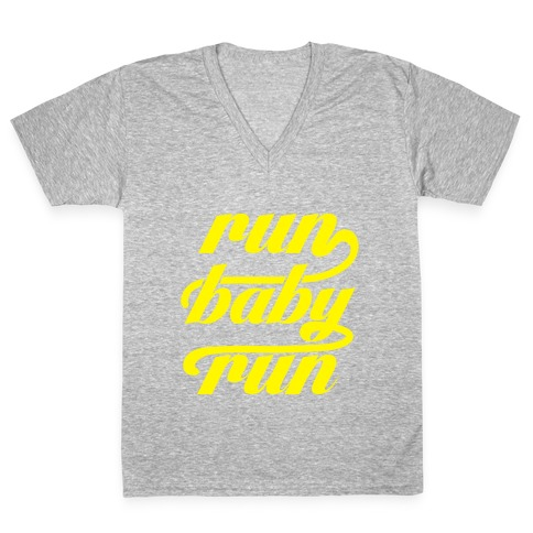 Run Baby Run V-Neck Tee Shirt