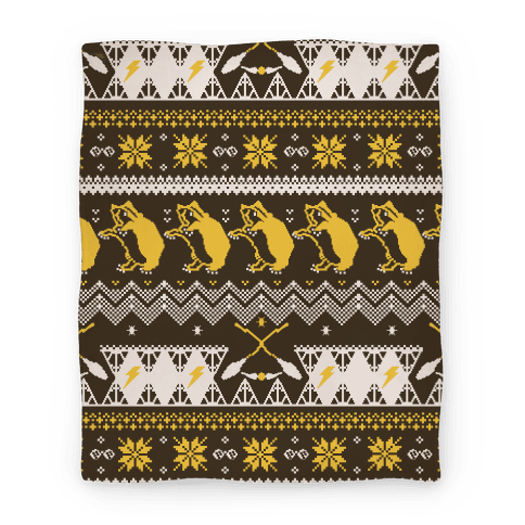 Hogwarts Ugly Christmas Sweater Pattern: Hufflepuff Blanket