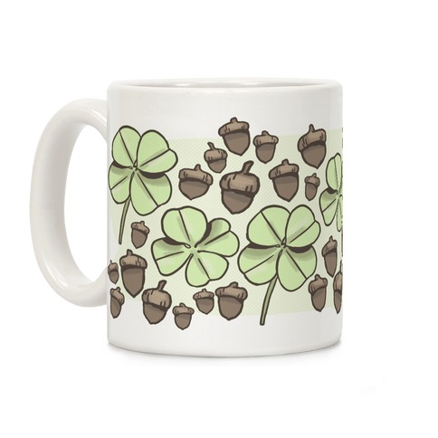 Acorn And Four Leaf Clover Pattern Coffee Mug