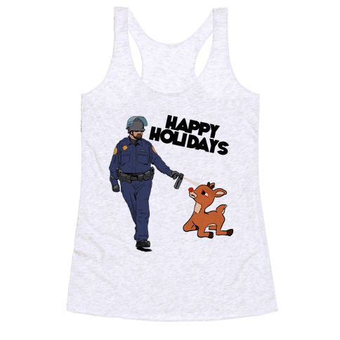 Officer Pikes Christmas Present Racerback Tank Top