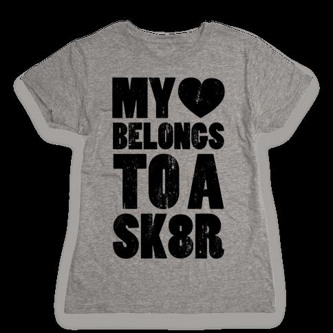 My Heart Belongs To a Skater (Baseball Tee) Womens T-Shirt