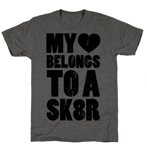 My Heart Belongs To a Skater (Baseball Tee) Mens T-Shirt