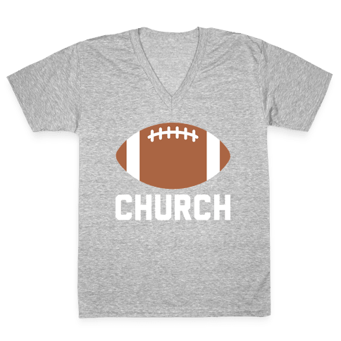Football Church V-Neck Tee Shirt