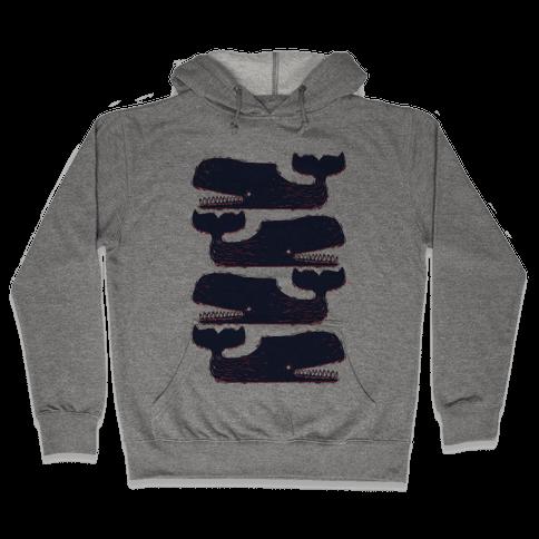 Vintage Nautical Whales Hooded Sweatshirt