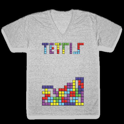 Tetris: Best Game Of All TIme V-Neck Tee Shirt