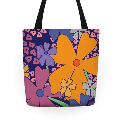 Navy Happy Flowers Pattern Tote