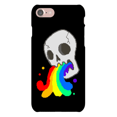 White Skull Wasted (8-bit) Phone Case