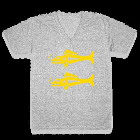 Blue Barracudas V-Neck Tee Shirt