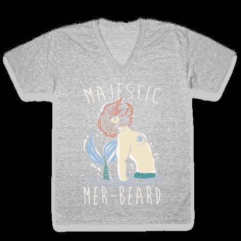 Majestic Mer-Beard V-Neck Tee Shirt