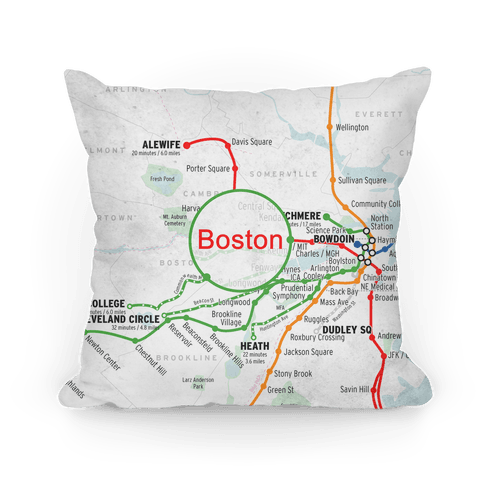 Boston Transit Map Pillow