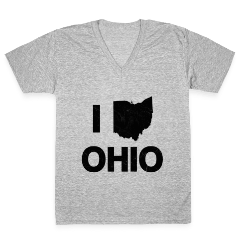 I Love Ohio V-Neck Tee Shirt