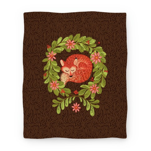 Sleeping Fox Wreath Blanket