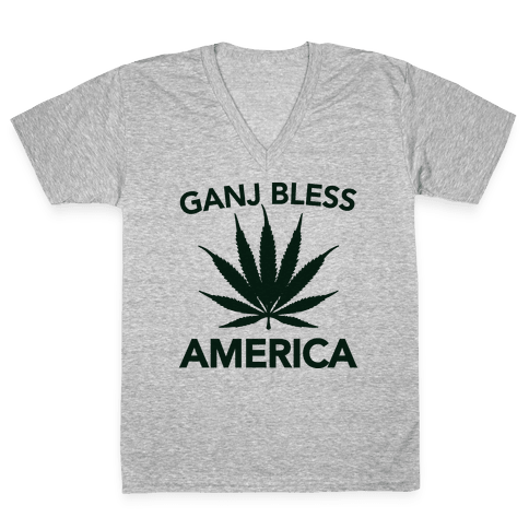 Ganj Bless America V-Neck Tee Shirt