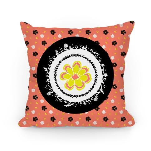 Springtime Floral Mandala (Coral) Pillow