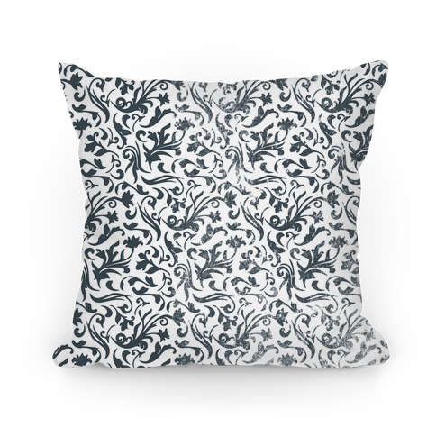 Black and White Medieval Flower Pattern Pillow