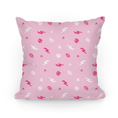 Punk Rock Pattern (Pastel Pink) Pillow