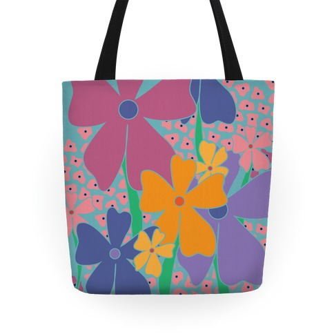 Happy Flowers Pattern Tote